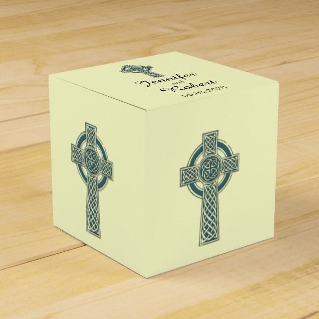 Celtic Cross in Teal and Ivory Wedding Favor Box |  Celtic Cross in Teal and Ivory Wedding Favor Box