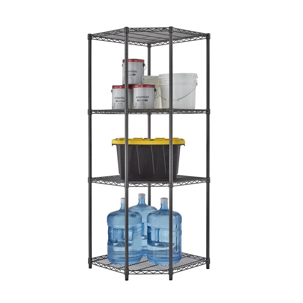 TRINITY PRO Black 4-Tier Corner Steel Wire Garage Storage Shelving Unit (27 in. W x 72 in. H x 18 in. D)-TBFPBA-0927 - The Home Depot
