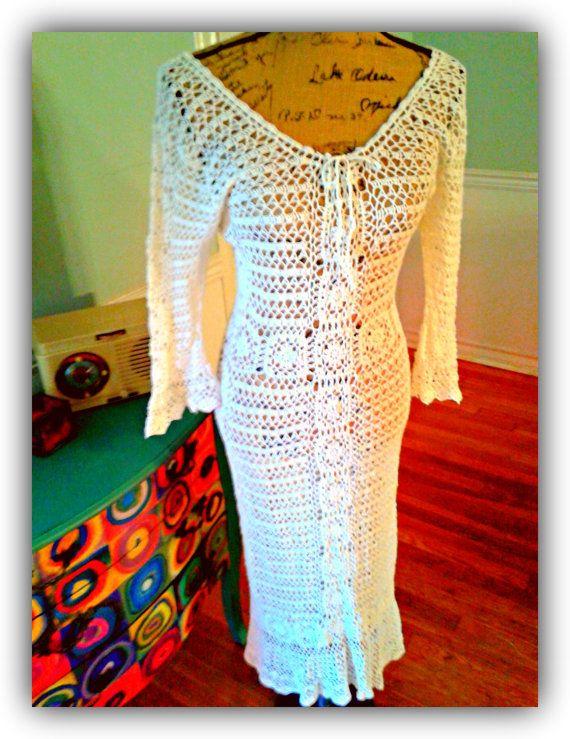 GrOoVy Crochet Dress / Bell Sleeves / Ivory /Vintage / Hippie / Boho ...