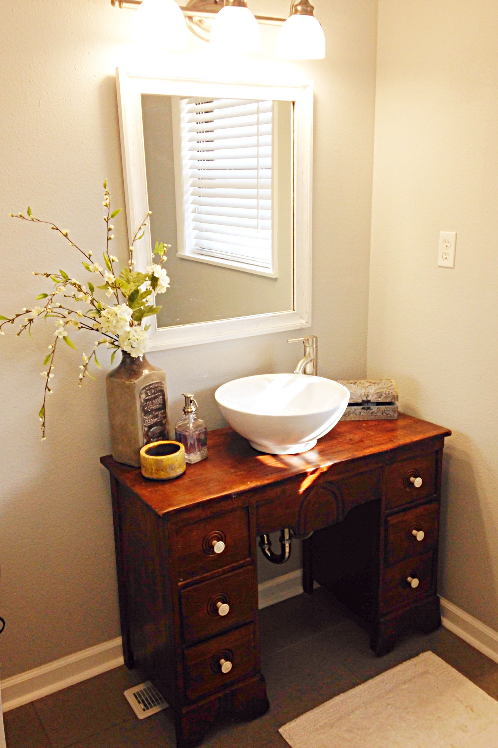 Old Desk Made Into A Vanity With Images Unique Bathroom Vanity