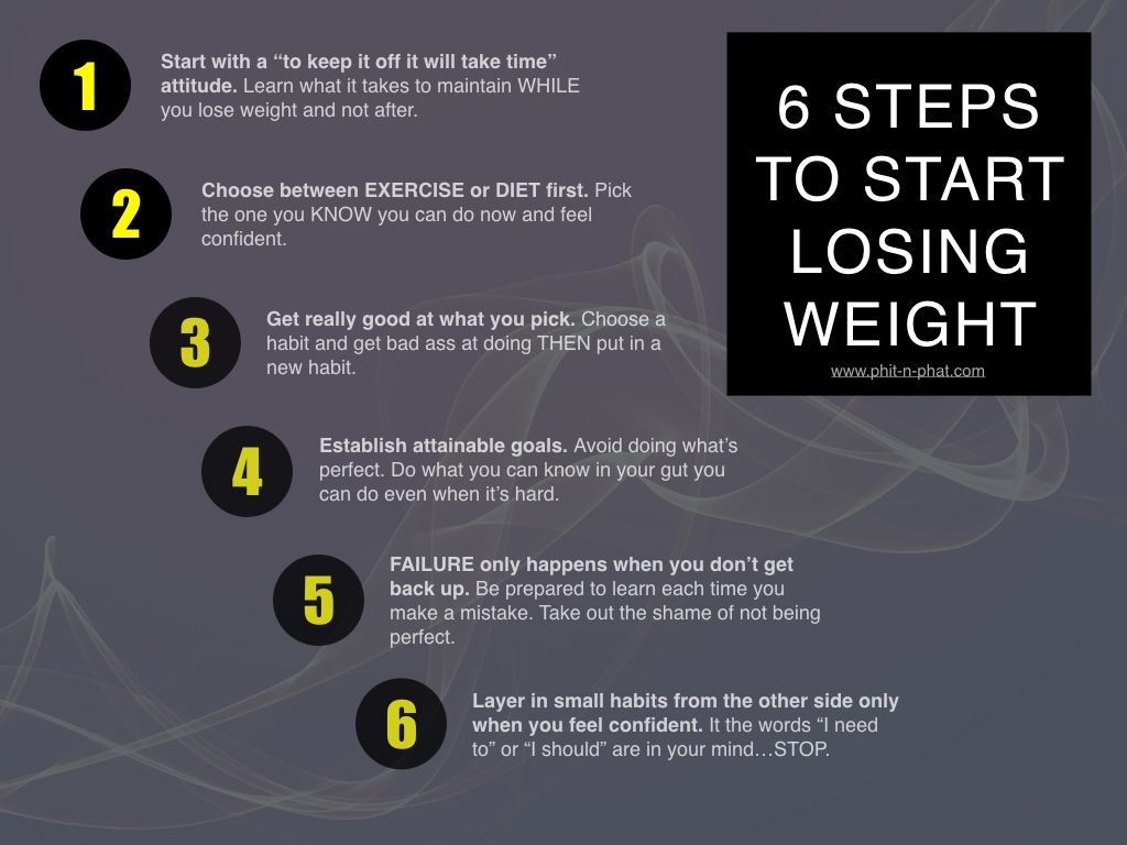 Small steps to start losing weight