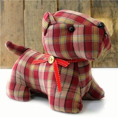 Tartan Check Patterned Fabric Doorstop ~ Red Scottie Dog Door Stop