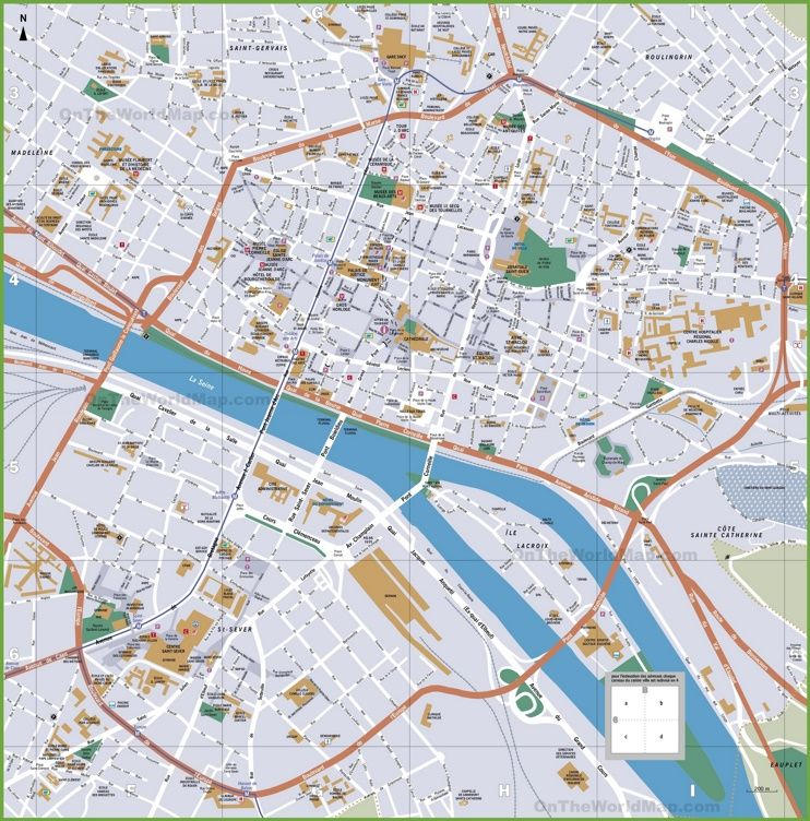 Rouen Tourist Map Karta