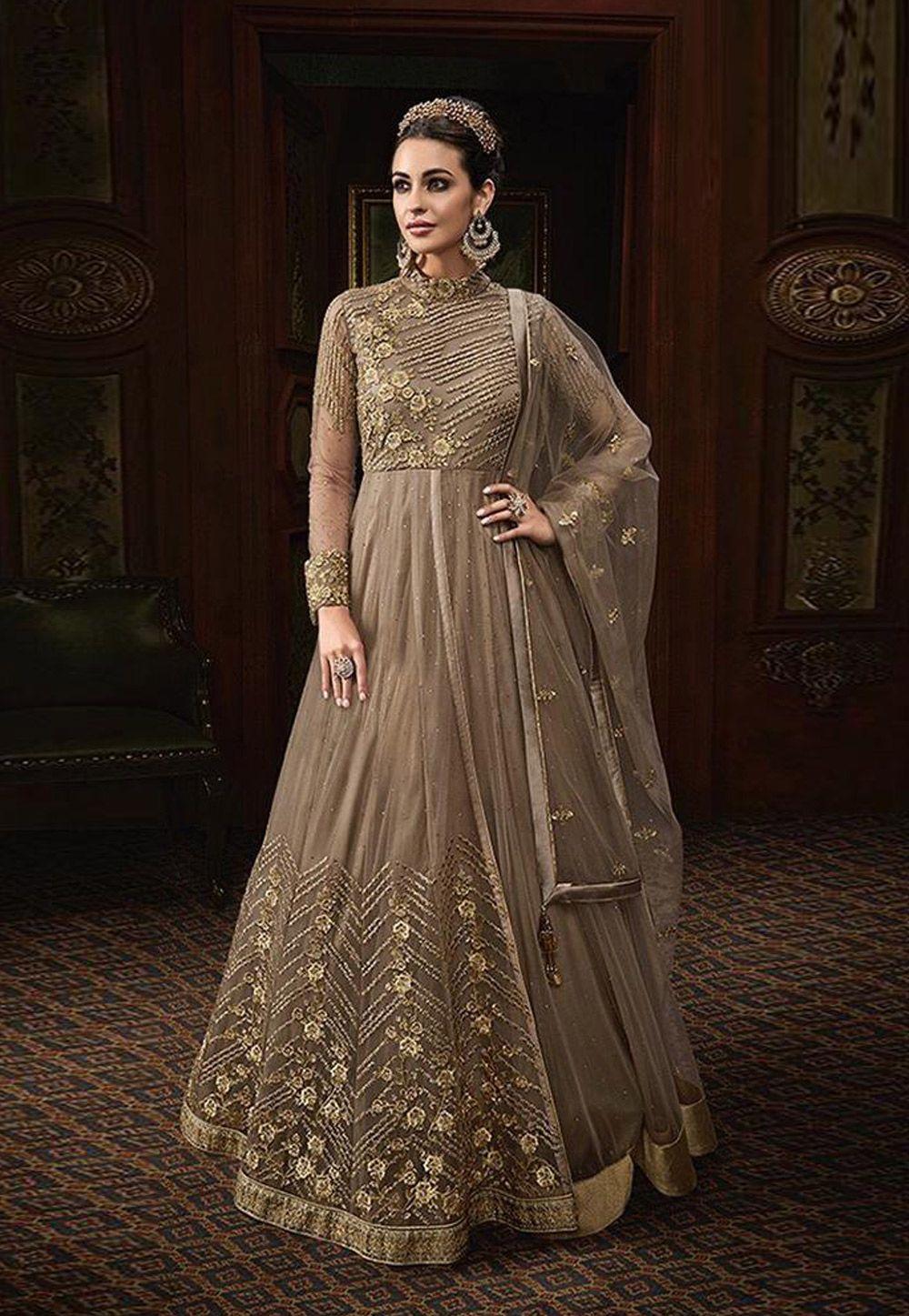 694525fd30 Buy Beige Net Abaya Style Anarkali Suit 163355 online at lowest price from  huge collection of salwar kameez at Indianclothstore.com.