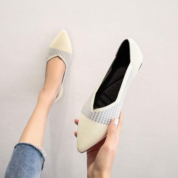 Beige Ballet Flat Knit Flats Footwear