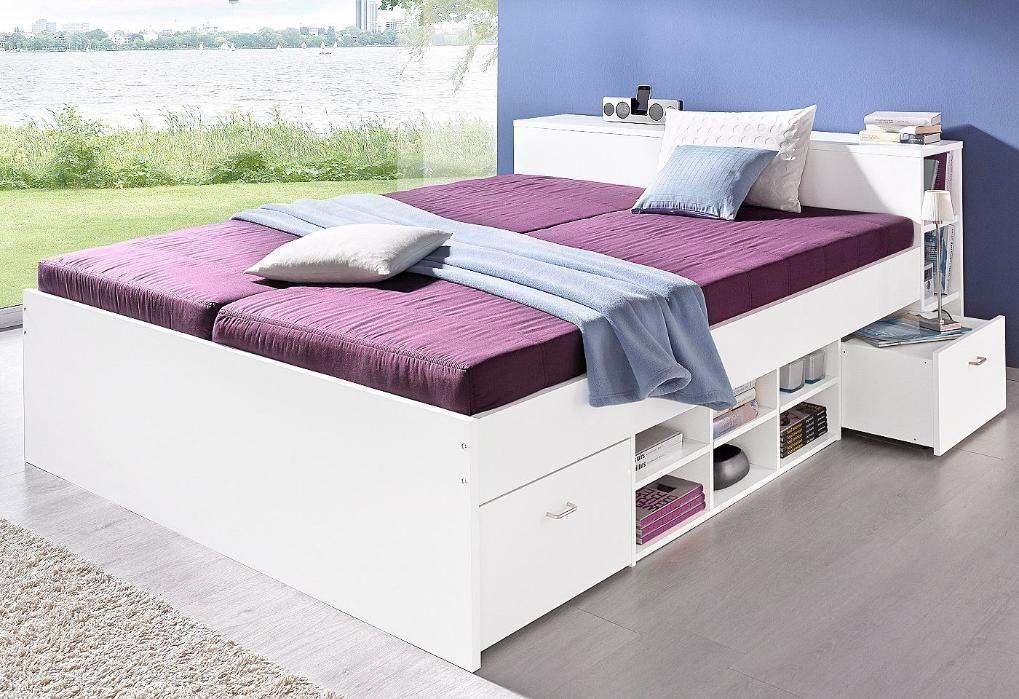Bett Mit Integriertem Nachttisch In 2020 Futonbett Stauraumbett Zimmereinrichtung