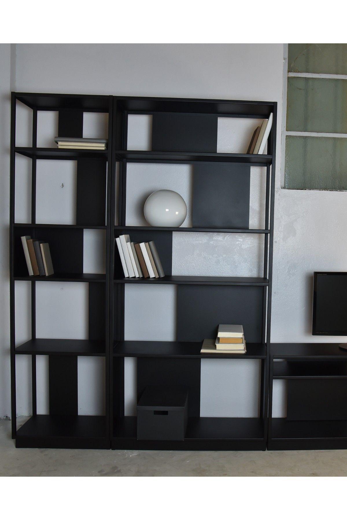 Bibliothèque Colonne étagère Métal Design Noir Arlequin Meubles