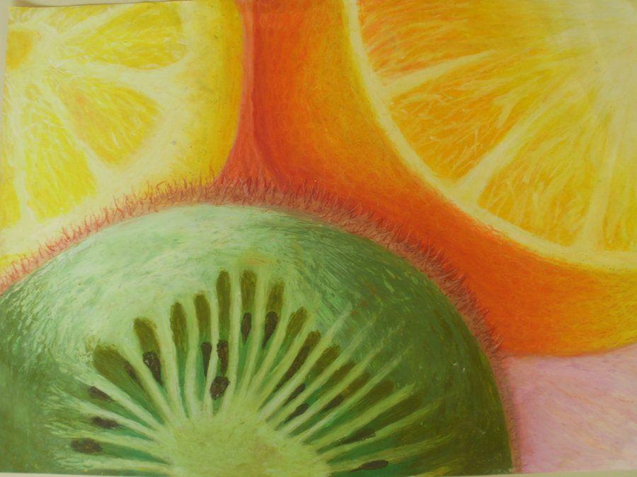 Fruit Oil Pastel Study Resimler