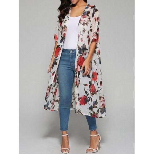 Rose Print Chiffon Kimono - White (Rose Print Chiffon Kimono