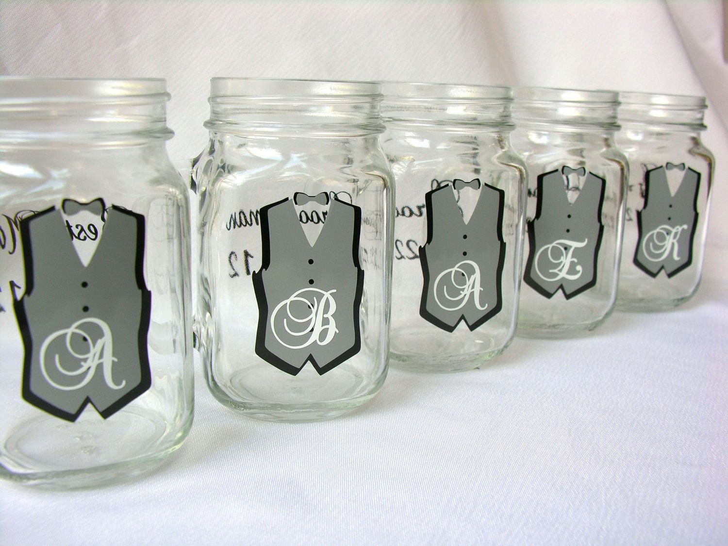 Mason Jar Groomsman glasses, Bridesmaids glasses. Wedding party ...