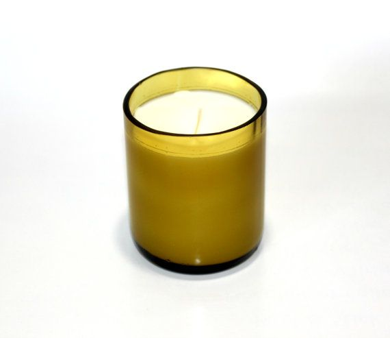 Hand Poured Soy Blend Candle in Hand Cut Recycled Wine Bottle by TwentyOneGlass on Etsy, $23.00