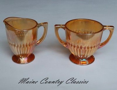 Mouse over image to zoom  Have one to sell? Sell it yourself  Vintage JEANNETTE ANNIVERSARY CREAMER & SUGAR Marigold Iridescent