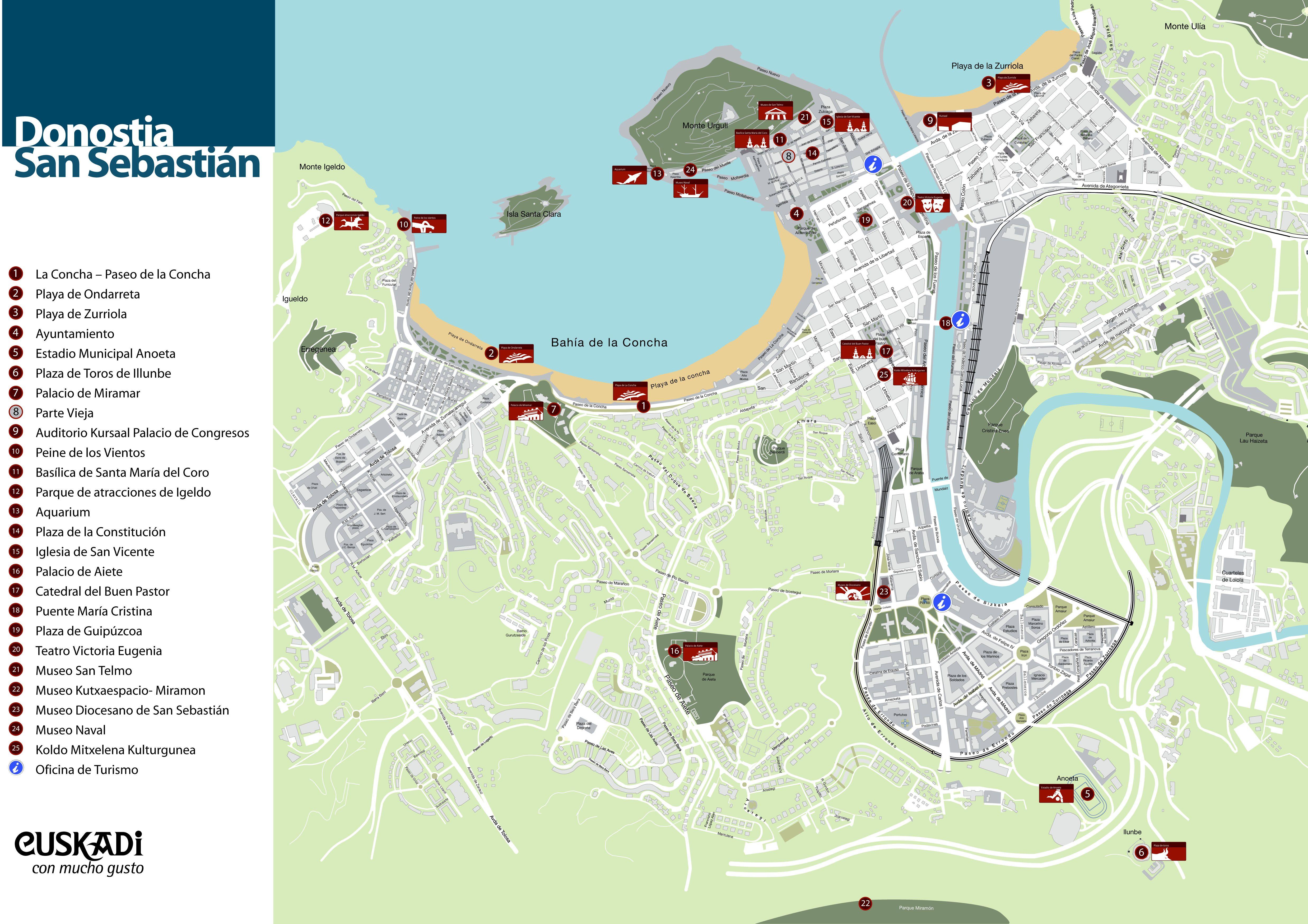 San Sebastian España Mapa.Map Of Donostia San Sebastian Mi Ciudad Favorita Espana