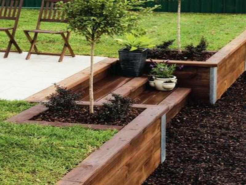 Patio And Timber Retaining Wall | How To Build Wood Retaining Wall With  Patio U2026