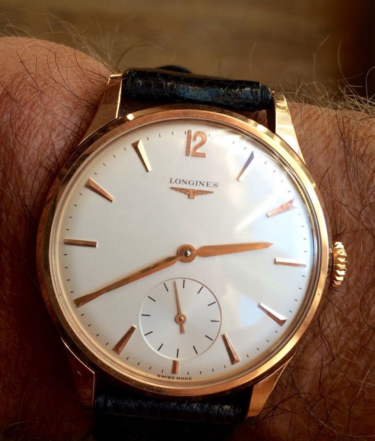 Superb vintage longines hand wound dress watch in gold circa 1950s my style in 2019 watches for Vintage gold watch