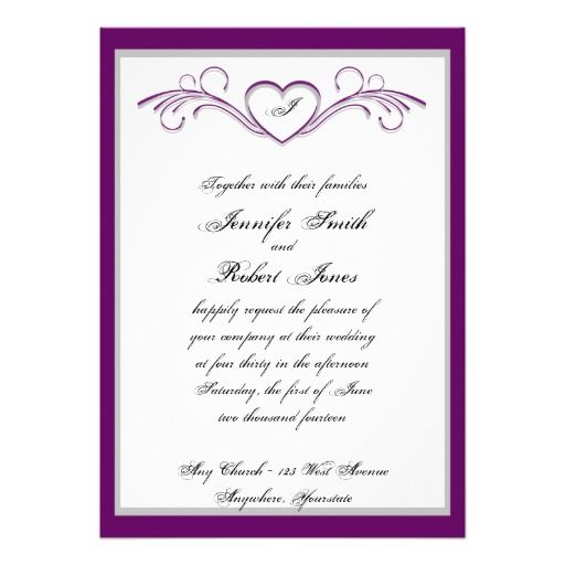 Purple Heart Scroll Monogram Wedding Invitation