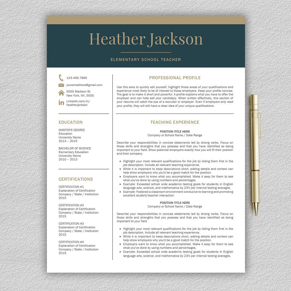Resume Template / Teacher CV fontsizebodytext