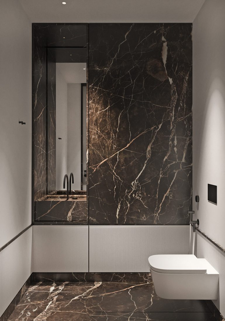 Magnificent Modern Marble Interior With Metallic Accents On Inspirationde Marble Interior Textured Glass Door Interior Architecture Design