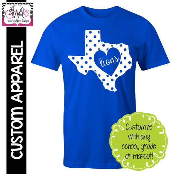 Custom apparel custom polka dot state pride school for Custom school t shirts