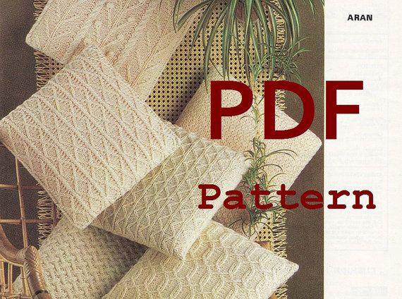 Aran Pillow Knitting Pattern Pdf Instant Download 6 Different