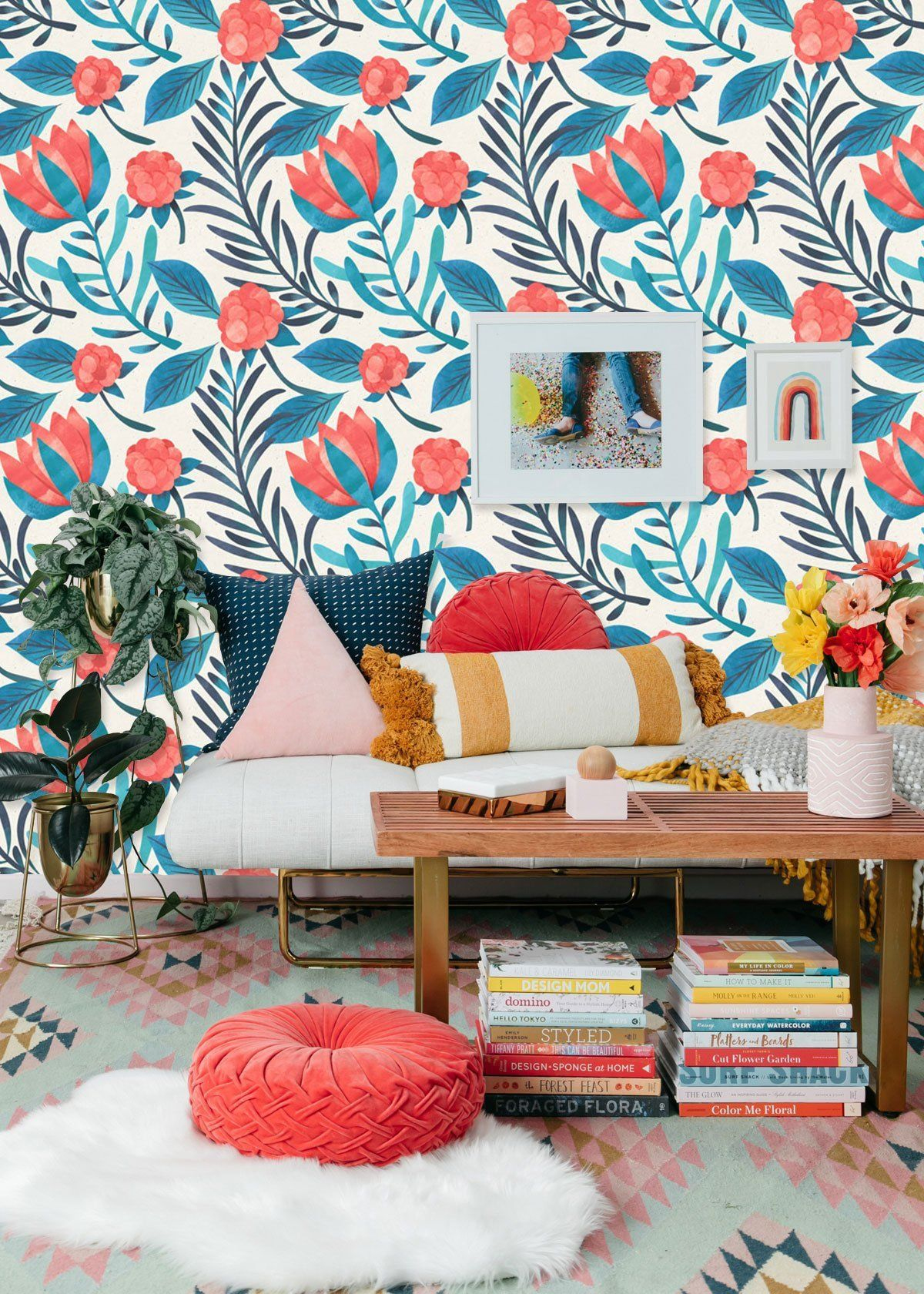 Bright Floral Wall Mural, Handpainted Crimson and Teal