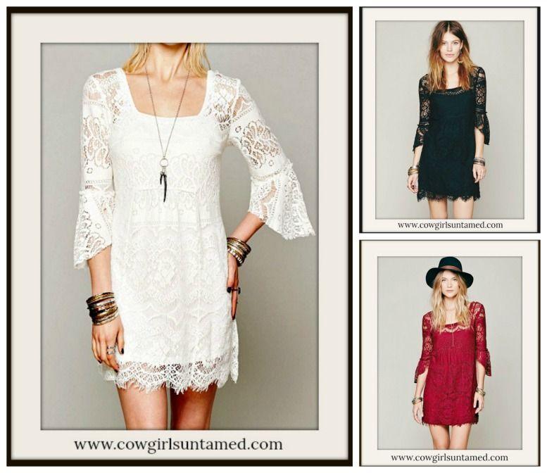 4a42203088cb5 COWGIRL GYPSY DRESS Lace 3/4 Sleeve Square Neck Boho Mini Dress FREE ...