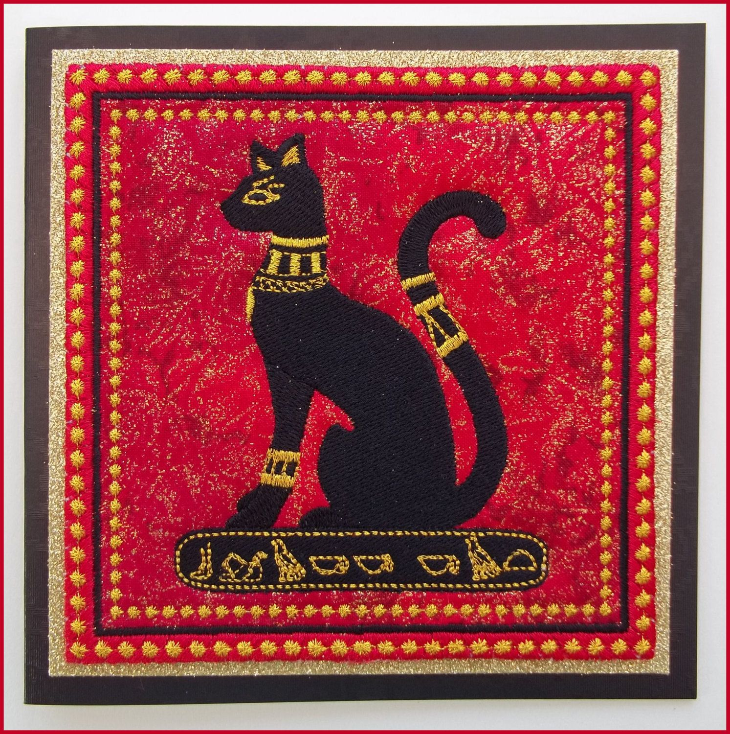 Egyptian Mau cat ,machine embroidered, fabric art card, handmade card, black cat, red and gold padded fabric, measures 6in x 6in. by CushionRock on Etsy