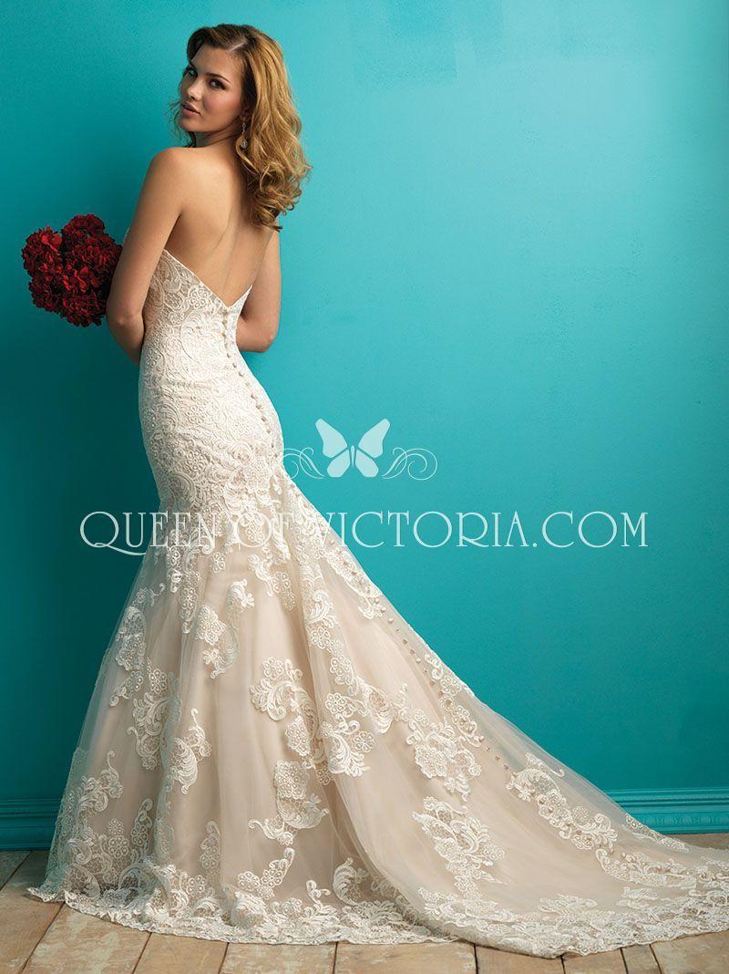 mermaid lace wedding dress open back strapless sweetheart neckline ...