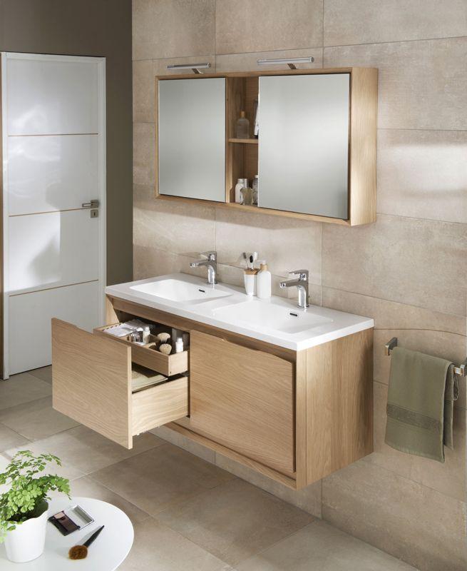 Le bois dans la salle de bains salle de bains salle de for Carrelage salle de bain beige et marron