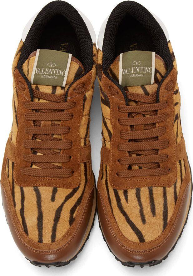 Valentino Tiger Print Calf-Hair & Burgundy Suede Sneakers