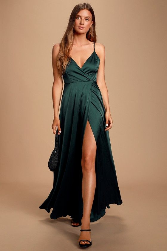 Ode To Love Emerald Green Satin Maxi Dress