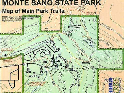 Monte Sano hiking trails map from Alabama State Parks | Hiking ...