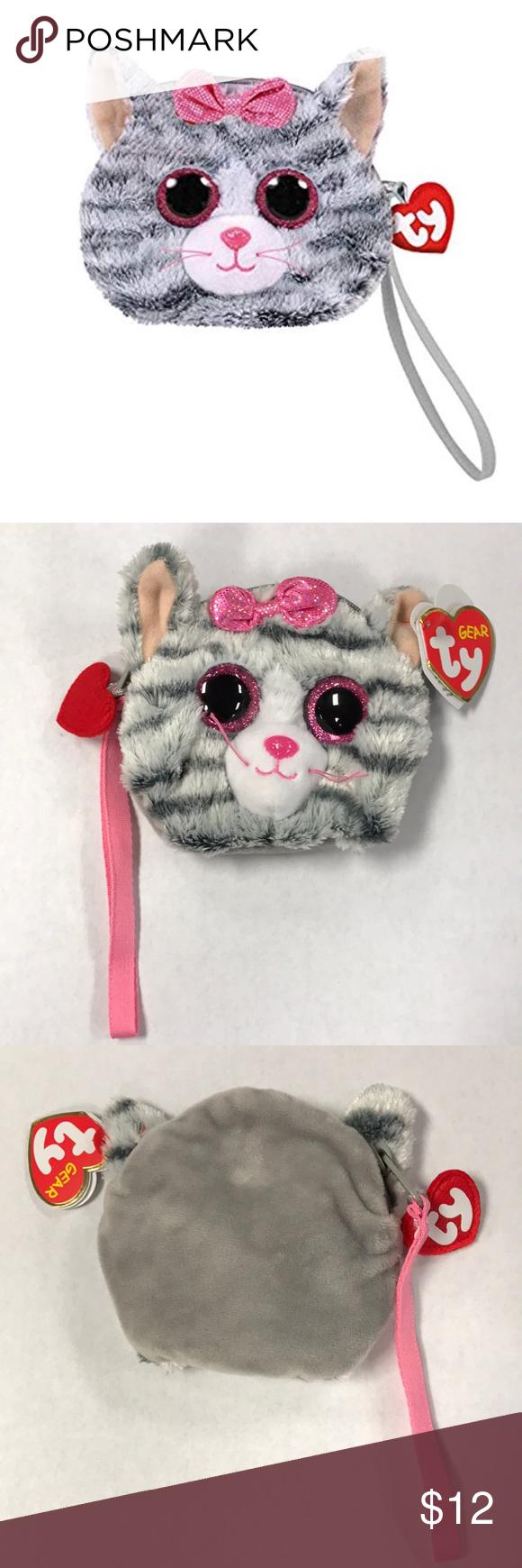 43240ff4a5c TY Gear Beanie KIKI Grey Cat Wristlet Coin Purse Cute TY Gear purse. Has a