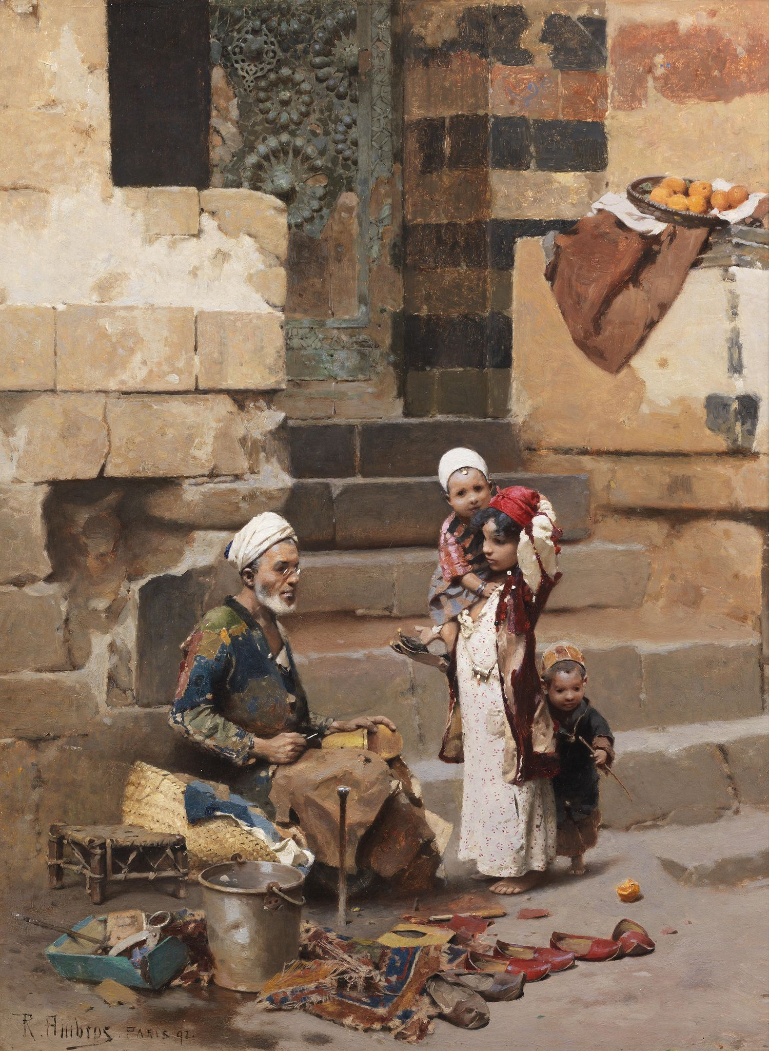 https://flic.kr/p/vvBvAk | Raphael von Ambros - The Old Shoe Maker, Cairo [1892] | Raphael von Ambros (1854 - 1895) was an Austrian painter.  [Bonham's - Oil on panel]