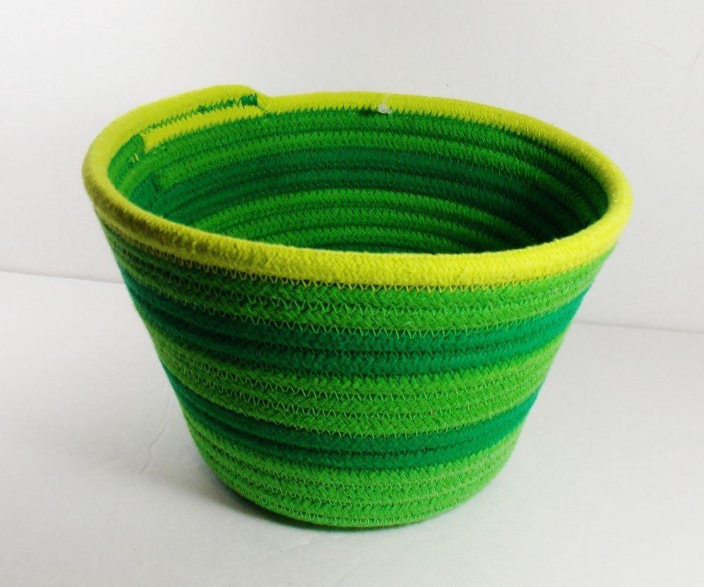 Coiled Rope Basket/Small/Green Sripe/Room Essentials/Storage/Organizer/
