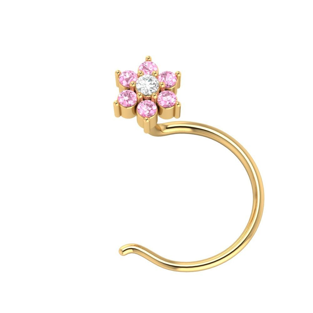 Nose accessories without piercing  Real Diamond W Pink Sapphire k Yellow Gold Flower Nose Body
