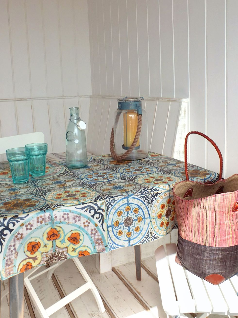 Mixed Folk Tile Pattern Oilcloth Table Cover From Www Louisebody