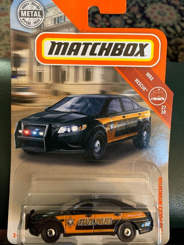 2018 Matchbox 84 Ford Police Interceptor Black Sedan State Mbx Rescue Ebay Hot Wheels Garage Matchbox Matchbox Cars