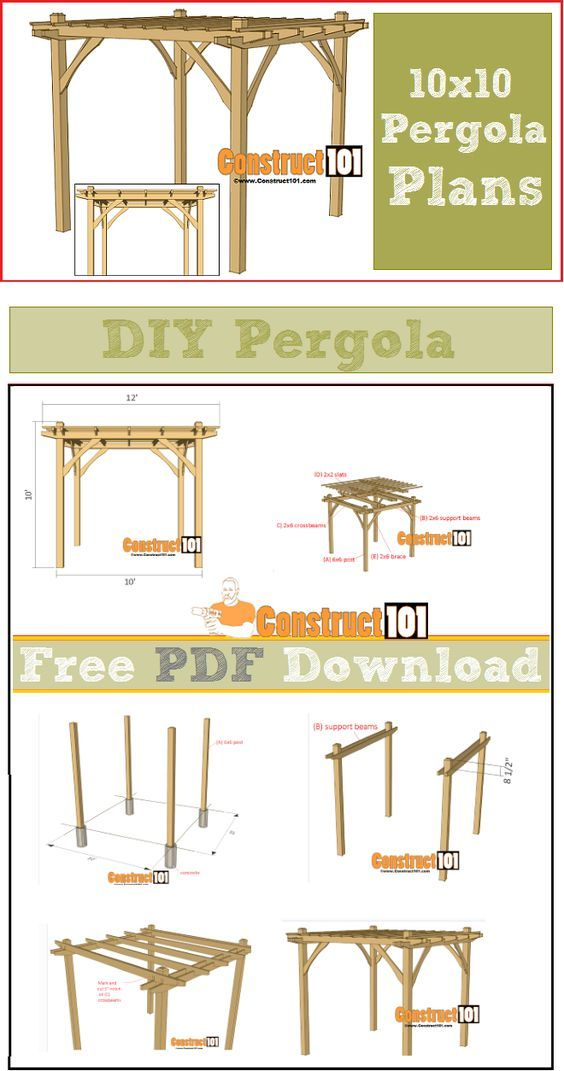 10x10 pergola plans pdf download pergola plans pergolas and pergola ideas. Black Bedroom Furniture Sets. Home Design Ideas