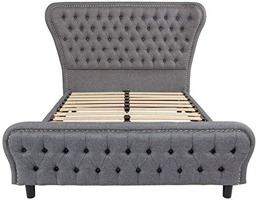 Photo of Amazing offer on Offex Tufted Upholstered Full Size Platform Bed  Silver Accent Nail Trim – Light Gray online – Thehotnewreleases