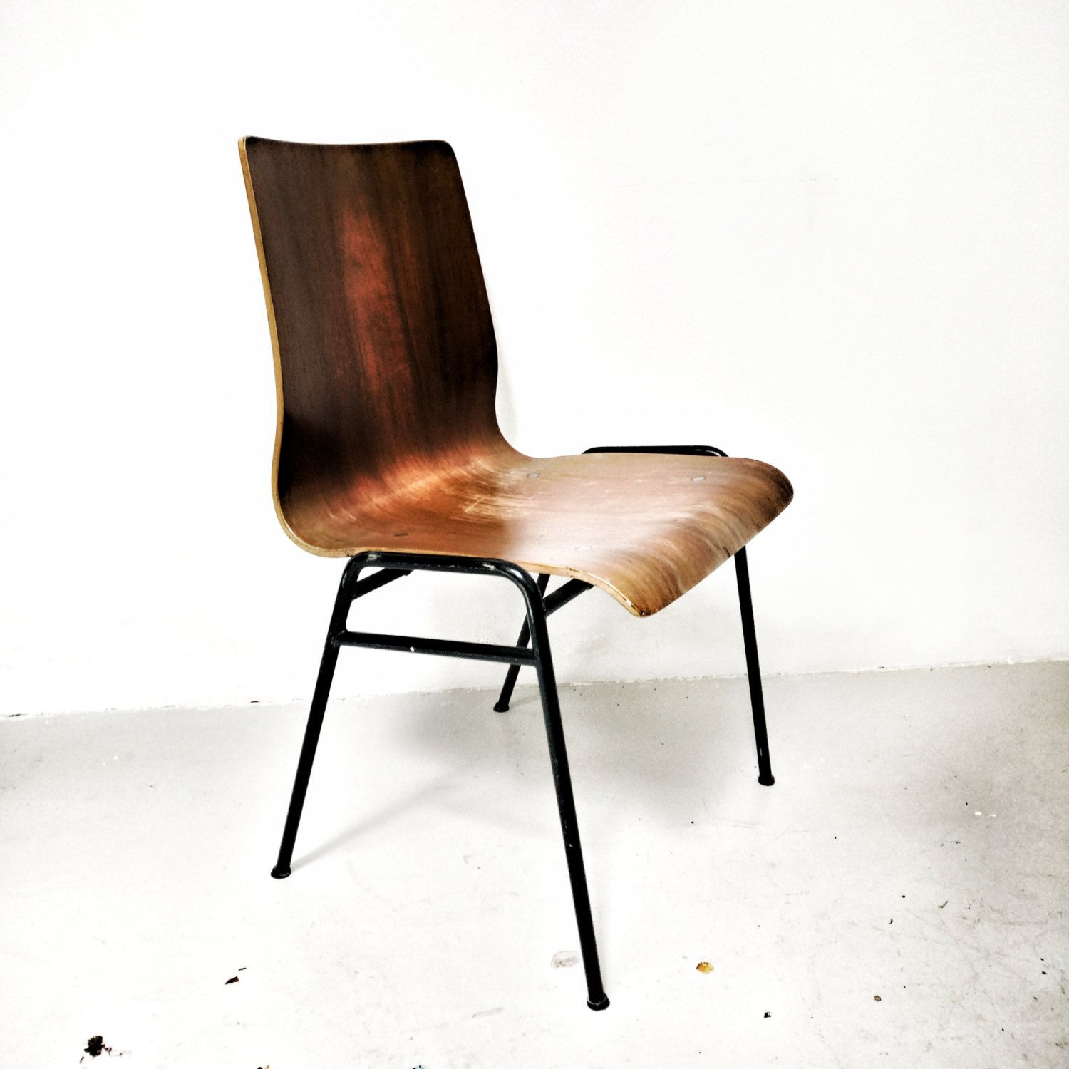 Sedie In Legno Anni 50.Lot Of 4 Vintage Original Chairs 50 Years Old In Curved Wood