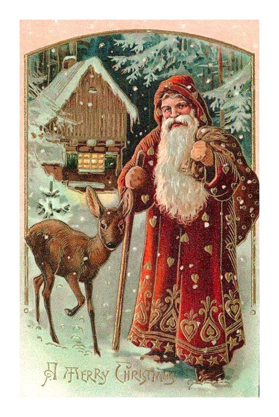 Christmas Santa Ecards Vintage Christmas Images Father Christmas Christmas Postcard