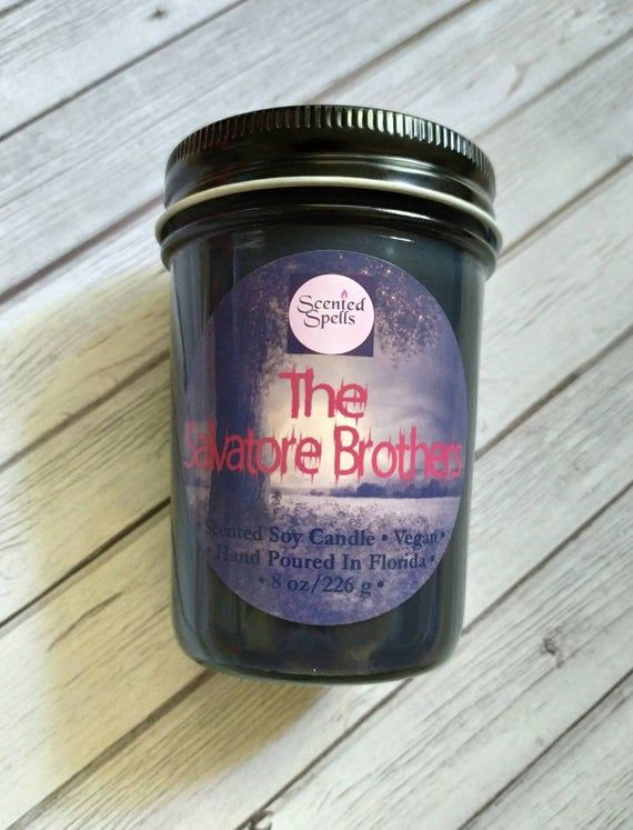 The Salvatore Brothers / 8 oz Candle / Soy Candle / 4 oz Candle / Vegan / Vampires / Masculine Scent / Stefan / Damon #candlecolormeanings