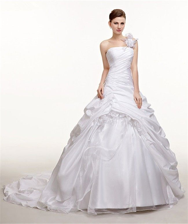 Royal Ball Gown One Shoulder Taffeta Pick Up Skirt Wedding Dress ...