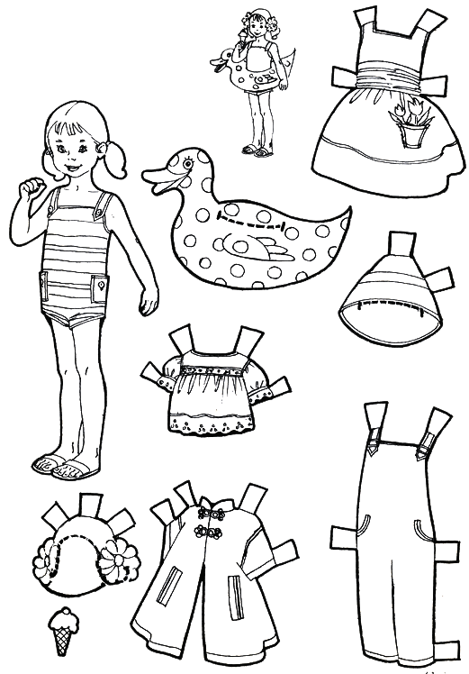 Vacation paper dolls to color and cut out boy and girl for Paper doll templates cut out