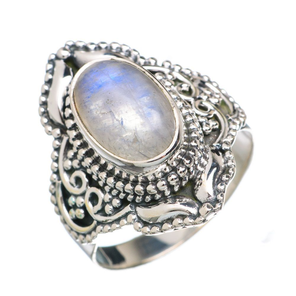 Rainbow Moonstone 925 Sterling Silver Ring Size 8.25 RING746509