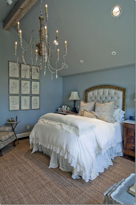 Nice The Master Bedroom Has Pretty French Blue Walls And Another Killer  Chandelier. The Ceiling Is