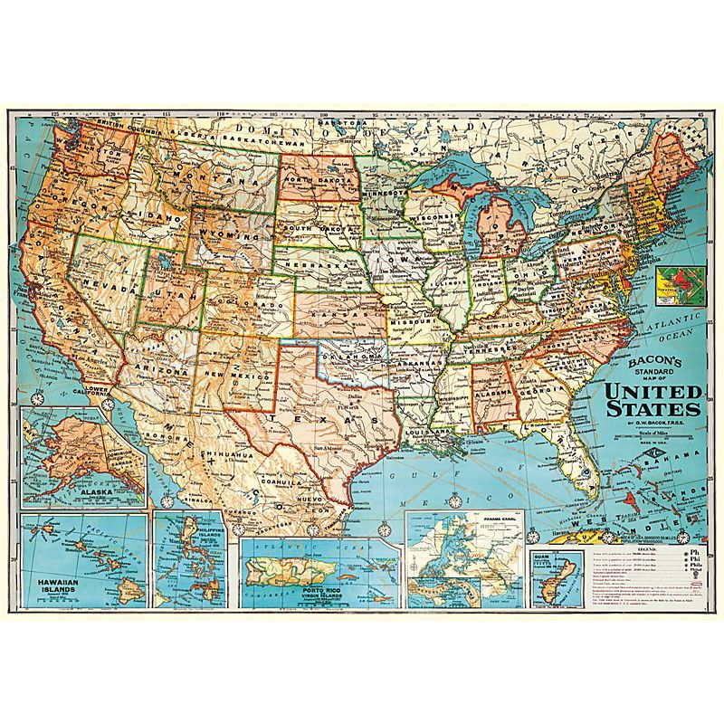 A vintage map of the United States