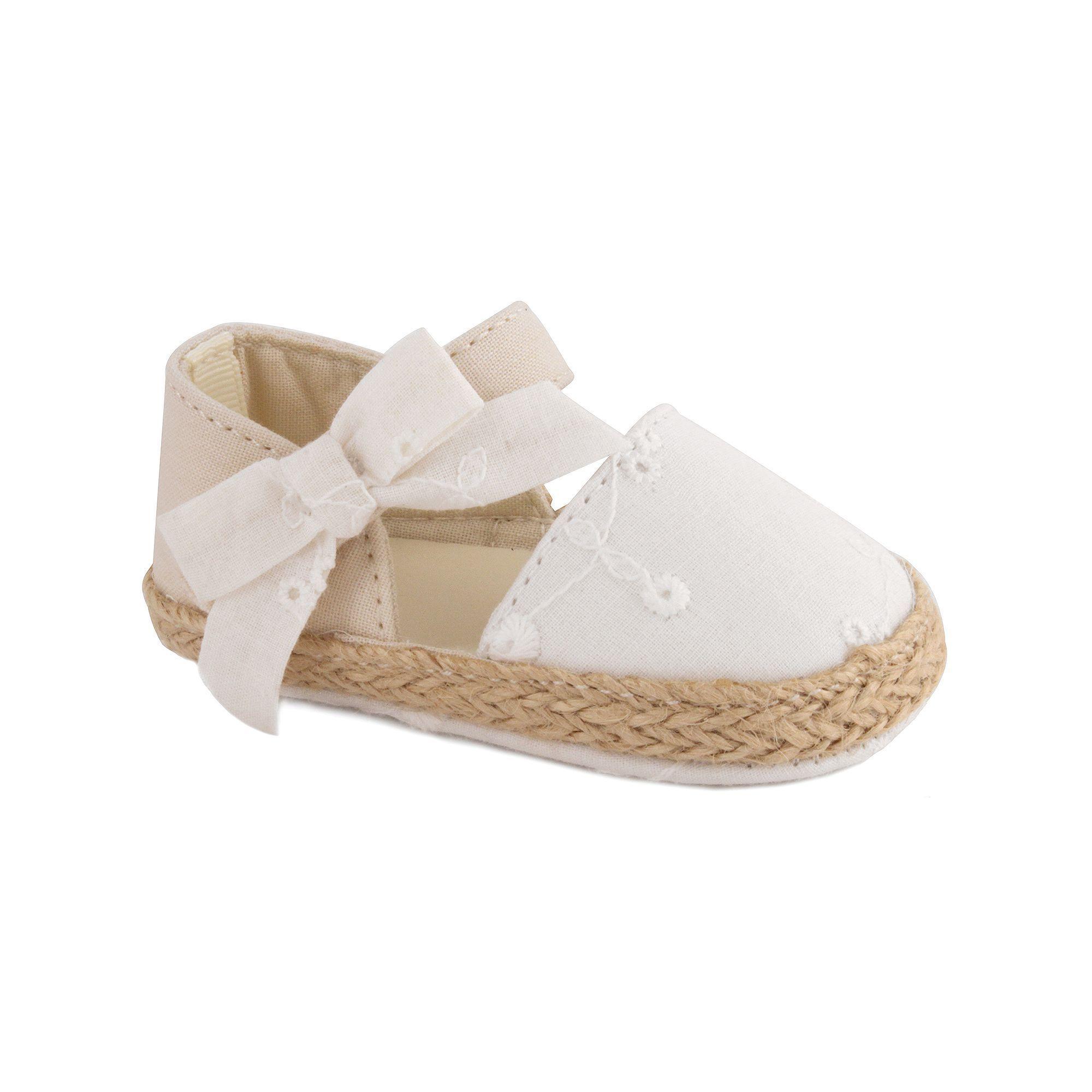 Baby Girl Wee Kids Eyelet Espadrille Crib Shoes Size 3 White
