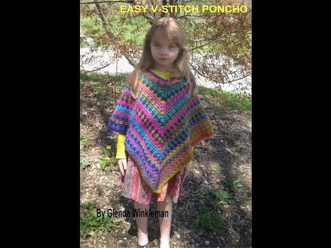 Quick & Easy V-Stitch Poncho (Free Pattern at end of video ...